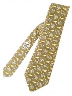Hermes Bird Print Silk Vintage Tie