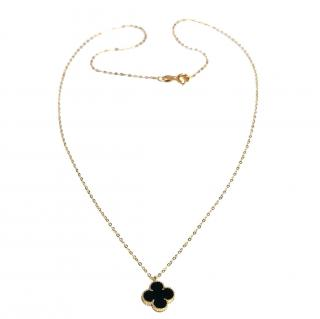 Bespoke 18ct Yellow Gold Onyx Clover Necklace