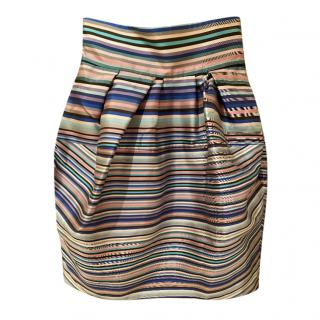 Christian Dior Silk Striped Tulip Skirt
