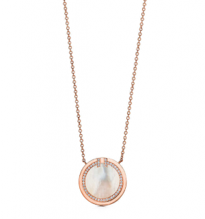 Tiffany T Diamond Mother of Pearl Circle Pendant in 18k Rose Gold