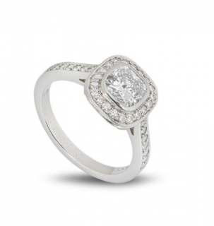 Bespoke Platinum Cushion Cut Diamond Ring