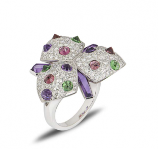 Cartier Gold diamond, amethyst, tourmaline, tsavorite flower ring