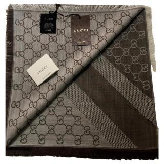 Gucci Reversible Monogram Silk & Wool Scarf