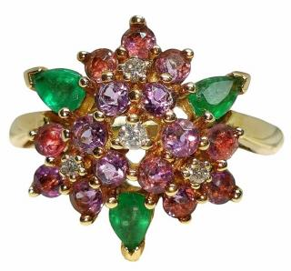 Faberge 18ct Yellow Gold Diamond, Emerald & Amethyst Cluster Ring