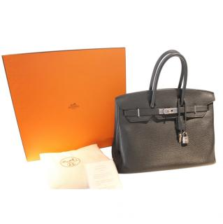 Hermes black togo leather Birkin 35 PHW