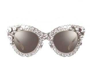 Dolce & Gabbana Silver SICILY FILIGREE Clear Crystal Sunglasses