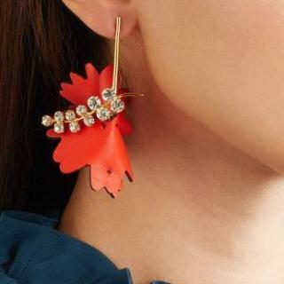 Marni red leather floral crystal drop earrings