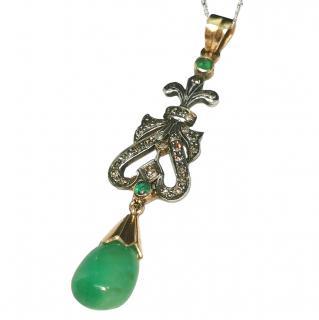 Bespoke Georgian Emerald & Diamond Drop pendant.