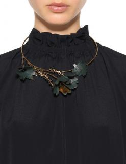 Marni dark green leather and crystal leaves necklace