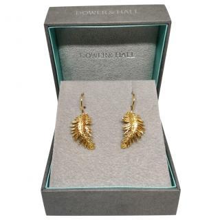 Dower & Hall gold metal leaf drop earrings