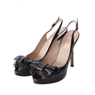 Valentino Black Patent Slingback Sandals
