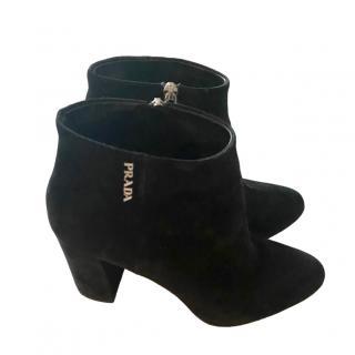 Prada Black Suede Logo Ankle Boots