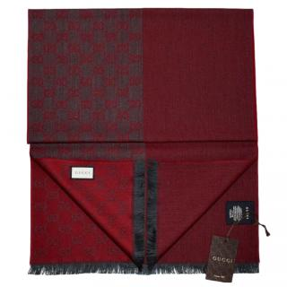 Gucci Red & Grey Reversible Wool Scarf