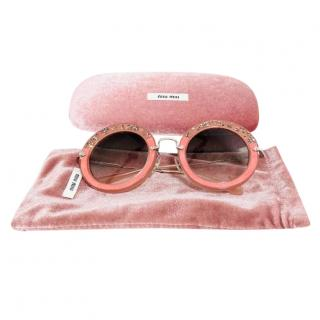Mu Miu Peach Crystal Embellished Round Sunglasses