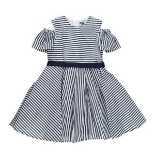 Jo Milano 9M Striped Cotton Ribbon Tie Cold Shoulder Dress