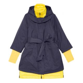 Max & Co blue and yellow multi function padded parka coat
