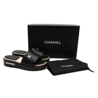 Chanel Black Lambskin Leather Quilted Platform CC Slides