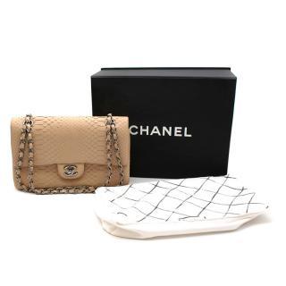 Chanel Beige Matte Python Classic Double Flap Bag