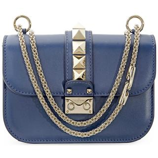 Valentino Small Glam-lock Blue Shoulder Bag