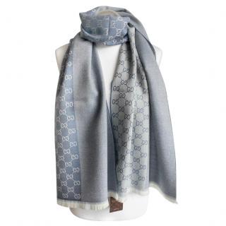 Gucci Blue Reversible Monogram Wool Scarf
