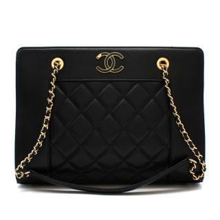 Chanel Black Lambskin Mademoiselle Vintage Shopper Tote