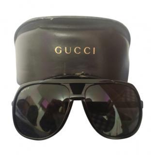 Gucci Black Vintage Oversize Aviator Sunglasses