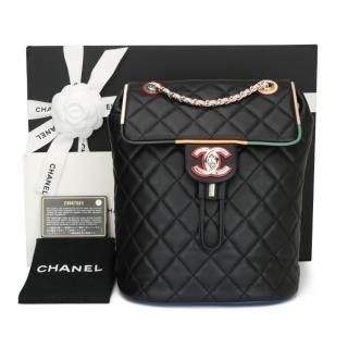 Chanel Black Quilted Leather Cuba Small Backpack