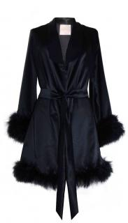 Maguy de Chadirac Black Silk Satin Marabou Feather Trim Gown