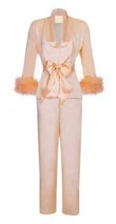 Maguy De Chadirac Marabou Feather Trim Peach Silk Pyjama Set