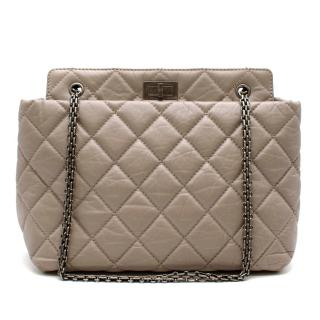 Chanel Greige Aged Lambskin Quilted 2.55 Reissue Tote Bag