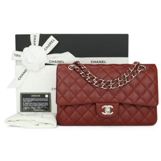 Chanel red caviar quilted classic double flap bag