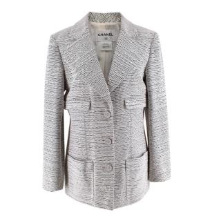 Chanel Black & White Boucle Textured Tailored Longline Jacket