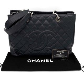 Chanel Grand Shopping Tote in quilted black caviar/silver hardware