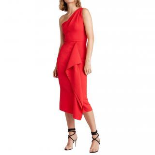 Roland Mouret Red Wool Crepe Rivoli Dress