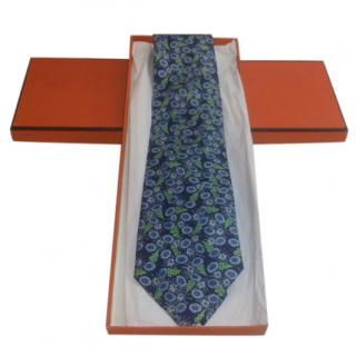 Hermes Blue & Green Printed Silk Tie