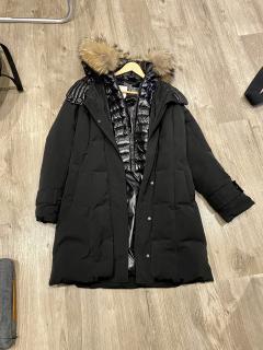 Moncler Black Fur Trimmed Chataignier Belted Jacket