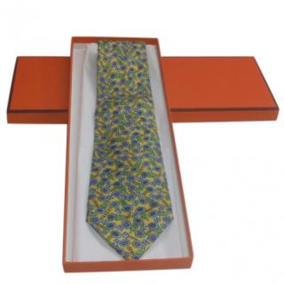 Hermes Yellow & Blue Silk Printed Tie