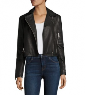 J Brand Black Cropped Leather Jacket