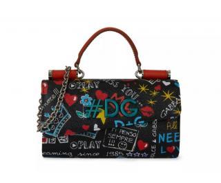 Dolce & Gabbana Graffiti Print Calfskin Phone Crossbody Bag