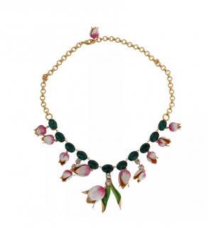 Dolce & Gabbana Crystal Flower Drop Necklace