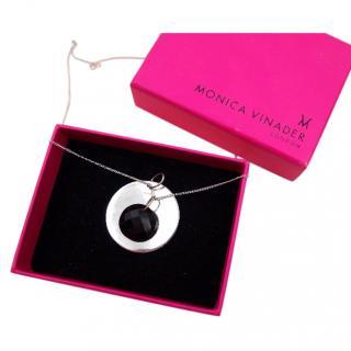 Monica Vinader hematite & sterling silver pendant necklace