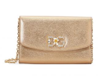 Dolce & Gabbana Gold Metallic DG Wallet On Chain
