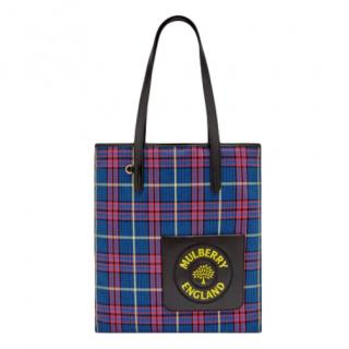 Mulberry Tartan Check Canvas Embroidered Tote