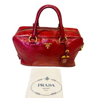 Prada Red Glossy Leather Tote Bag