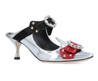 Dolce & Gabbana Silver Embellished Aladino Mules 60