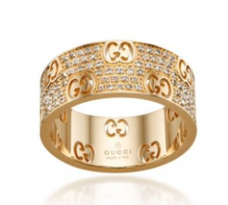Gucci 18ct Yellow Gold Diamond Stardust Wide Ring