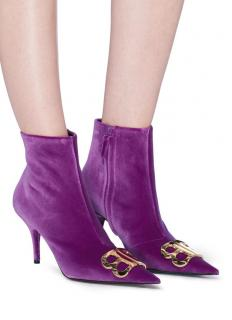 Balenciaga Purple Velvet BB 85mm Ankle Boots