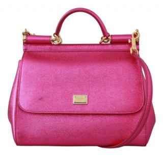 Dolce & Gabbana Metallic Pink Sicily Top Handle Bag