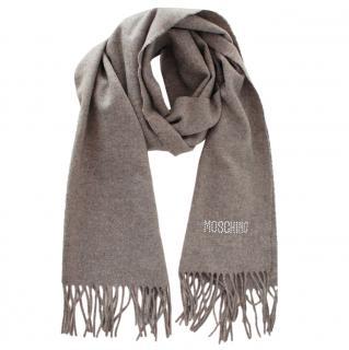 Moschino Grey Crystal Embellished Wool Scarf