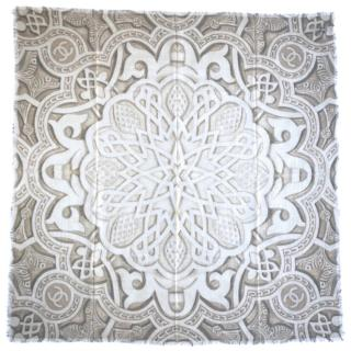 Chanel Cashmere Beige Printed Scarf